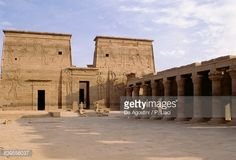 First Pylon and west portico, Temple of Isis at Philae (UNESCO World Heritage List, 1979), Agilkia Island, Aswan, Egypt, Egyptian civilization