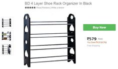 Buy Online 4 Layer Shoe Rack Organizer In Black Only Rs 579 - Shopping Indiatimes Holi Offers - Couponscenter