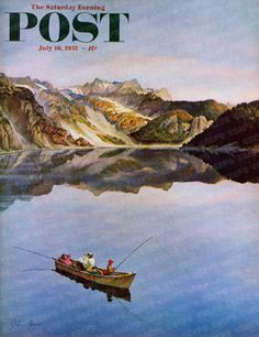 Fishing On Mountain by John Clymer, July 16, 1955, The Saturday Evening Post.