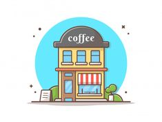 Building And Landmark Icon Concept Vector Icons, Vector Free, Community Places, Shop Buildings, House Drawing, Coffee Shop, Design City, Watercolor Ideas, Concept
