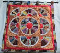 Beautiful unique Handmade quilt from ties wall hanging fans lace 36 x 37 OOAK #Handmade