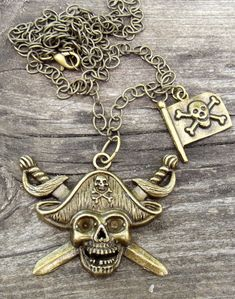 Bronze Pirate Skull Necklace - HoJoJewelry - Etsy - $16.98
