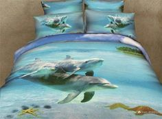 New Design Cotton 500 TC dolphin bedspreads,Cotton bedding set without the filler,dolphin bed linen queen bedclothes Ocean Bedding, Beach Bedding Sets, Blue Bedding Sets, Cotton Bedding Sets, Comforter Sets, Blue Duvet, Tropical Bedding, Purple Bedding, Dolphin Bedroom