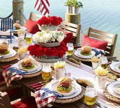 Cool Summer/July 4th Tablescape  love the mason jars with handles as beer mugs