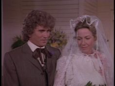 Little House on the Prairie. Charles and Caroline renew their vows with a younger couple for a double wedding ceremony and two gorgeous Victorian wedding dresses. Laura Ingalls Wilder, Melissa Gilbert, Tv Couples, Young Couples, Ingalls Family, Michael Landon, Wedding Movies, Double Wedding, Star Pictures