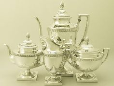 Russian Silver Four Piece Tea and Coffee Service - Empire Style - Antique Circa 1898  SKU: W9922  Price    GBP £2,750.00  #tea #coffee #service #russiansilver