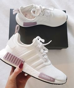 womens running shoes trainers NMD r1 white and purple pink adidas shoes  Adidas Skor Kvinnor 9f864f78a8