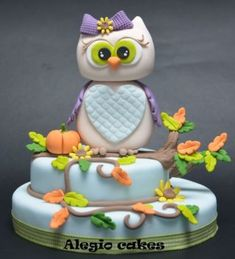 Gray & Purple Vines and Pumpkins Owl Cake