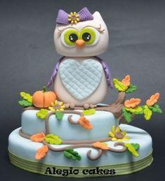 Orange, Green, Gray & Purple Vines and Pumpkins Owl Cake