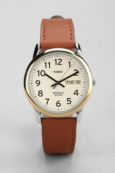 Timex Brown Leather Easy Reader Watch $54 urbanoutfitters.com
