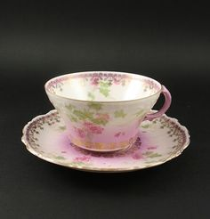 Wheelock Imperial Austria  Floral with Gold Tea Cup & Saucer