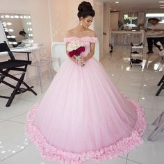 Dressywomen offers high quality Ball Gown Off-the-Shoulder Court Train Pink Tulle Wedding Dress with Flowers, Only $255.99. We have more styles for Wedding Dresses.