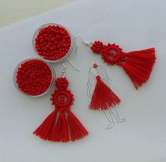 tassel earrings beaded crochet earrings red sustainable