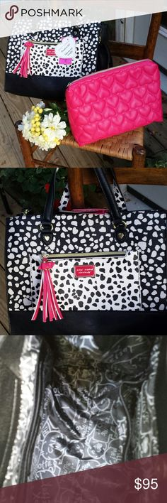 Betsy Johnson lg handbag with pouch. Beautiful Pouch to Go Betsy handbag. Lg. Size! pattern as shown in photos. Adjust to crossbody or shoulder.Also has hand carry straps!!!! Bag is black and white with pink trim. Comes with lg.pink pouch. Betsey Johnson Bags Crossbody Bags