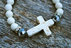 Oversized White Howlite Cross Bracelet White by GrizzyLove, $22.00