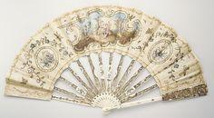 18th C. French linen & ivory Fan