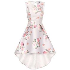**Chi Chi London High neck dip hem midi dress ($110) ❤ liked on Polyvore featuring dresses, multi color, pink dress, floral print midi dress, hi low dress, high low dresses and pink high low dress