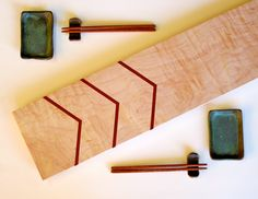Chevron Cutting Board Sushi Tray. $65.00, via Etsy.