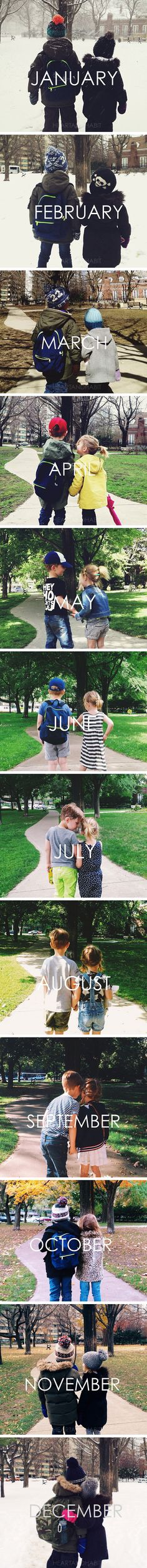 Cutest idea ever!! Take a picture in the same spot every month and then make a calendar out of it. This is so cute. @Melissa Squires Squires Squires Squires
