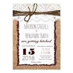 Rustic Country Burlap and Lace Print Wedding Invitations with a printed twine bow design. Rustic Wedding Invitations.  Country Wedding Invitations.