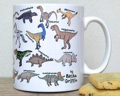 Dinosaur Alphabet Mug by BeckaGriffin on Etsy