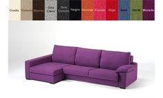 Sofá con chaise longue a la izquierda tapizado en tela. ¡12 colores a elegir!