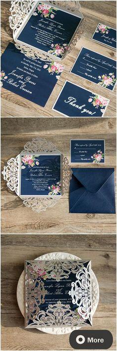Shabby chic navy blue and pink laser cut floral wedding invitations @ElegantWeddingInvites
