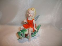 ARDALT Occupied Japan Vintage Ceramic China Fairy Pixie on Grasshopper