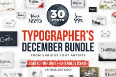 Typographer's December Dream Bundle by CreativeBooster Bundles on Creative Market typography, brush fonts, handmade, fonts, font, graphic design, graphics, hand lettering, hand lettered, handlettered