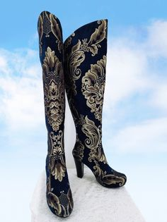 Details about  /Ladies Pointy Toe Knee High Boots Block Heels Pull On Cowboy Work Casual Shoes D