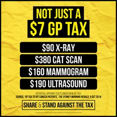 Yesterday we found out: it's not just a $7 GP tax. SHARE and stand against the tax. #auspol
