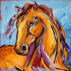 Orange Horse Contemporary Equine Art Horse Painting by Texas Artist Laurie Pace, painting by artist Laurie Justus Pace