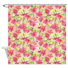 Beach Shower Curtain Tropical Flowers Curtains