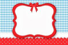 Fazendo a Minha Festa!: Poá Vermelho e Xadrez Azul - Kit Completo com molduras para convites, rótulos para guloseimas, lembrancinhas e image...