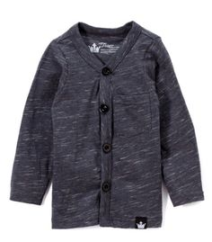 Littlest Prince Couture Gray Slub-Knit Cardigan - Toddler & Boys   zulily