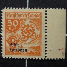 German Kdf/DSGV revenue stamp-scarce Herborn-Kraft Durch Freude-Nazi Germany