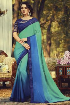 Online Shopping of Party Style Fancy Sea Green Color Art Silk Fabric Saree With Embroidered Blouse from SareesBazaar, leading online ethnic clothing store offering latest collection of sarees, salwar suits, lehengas & kurtis Party Wear Dresses, Party Wear Sarees, Casual Dresses, Bridal Dresses, Blue Silk Saree, Silk Sarees, Chiffon Saree, Saris, Bollywood Sarees Online