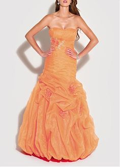 Dreamy Organza & Satin Princess Strapless Slightly Sweetheart Neckline Ruched Bust Empire Waist Pick-up Prom Dress Orange Prom Dresses, Orange Dress, Wedding Dresses Plus Size, Bridal Wedding Dresses, Strapless Dress Formal, Formal Dresses, Dress Codes, Occasion Dresses, Formal Wear