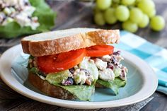 Uncle Wiley's Chicken Salad #cranberries #grapes #raisins #chicken #salad #chicken salad #justapinchrecipes