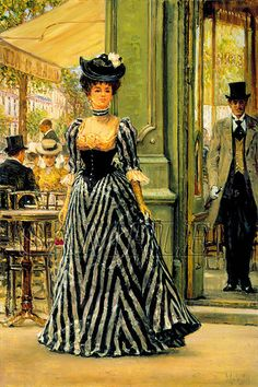 Society lady in black striped dress, Jacques Doucet 1890s Fashion, Edwardian Fashion, Vintage Fashion, Victorian Women, Victorian Era, Edwardian Era, Historical Costume, Historical Clothing, Belle Epoque