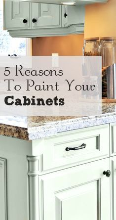 5 Reasons to Paint Your Kitchen Cabinets - love the cupboard colour.