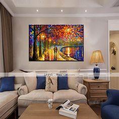Pintados à mão Abstracto / Paisagens Abstratas Pinturas a óleo,Modern 1 Painel Tela Hang-painted pintura a óleo For Decoração para casa de 5317535 2017 por R$154,09