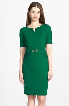 $128, Ellen Tracy Embellished Pleated Jersey Sheath Dress. Sold by Nordstrom. Click for more info: https://lookastic.com/women/shop_items/357213/redirect