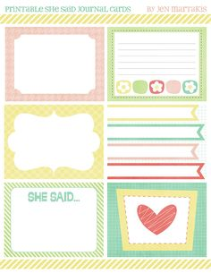 FREE Printable Journal Cards!