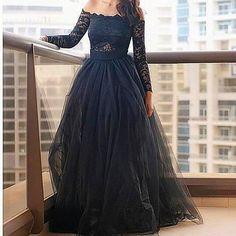 De noche de tul negro vestidos largos de encaje de manga larga del hombro vestido de bola del vestido vestido Formal
