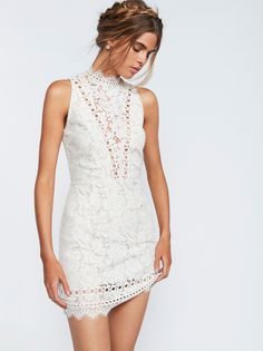Cherie Bodycon Dress | Delicate floral lace bodycon dress in a mini length.    * High neck with an unlined plunging neckline   * Scalloped eyelash lace trim   * Exposed back   * Hidden back zip   * Lined