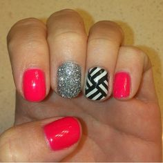Neon pink gelish, silver glitter, white gelish accent nail with black geometric designs