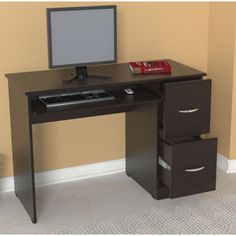@Overstock - This attractive computer desk from Inval America features a rich, espresso wenge finish with drawer storage area. Constructed of durable, double faced melamine, this computer desk is stain, scratch, and heat resistant.http://www.overstock.com/Home-Garden/Inval-Computer-Desk/7286713/product.html?CID=214117 $164.99