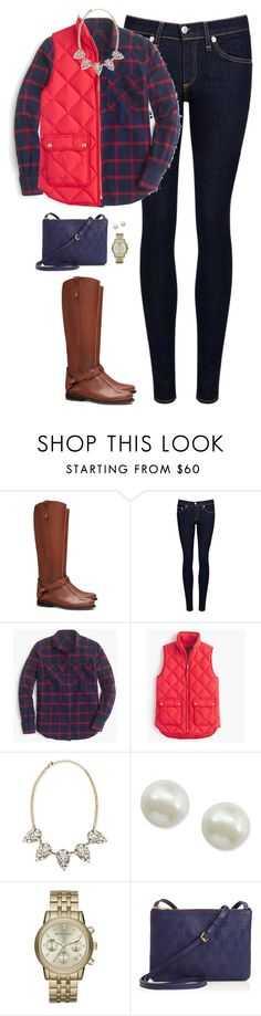 """""""Navy & bright red"""" by steffiestaffie ❤ liked on Polyvore featuring Tory Burch, rag & bone/JEAN, J.Crew, Panacea, Majorica, Michael Kors and Liberty"""