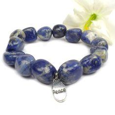 Sodalite Bracelet Blue Stretch Charm Bracelet by ABeadedStory, $10.00